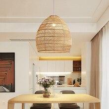 Lámpara de araña de cuerda de ratán hecha a mano, estilo asiático creativo, alta calidad, para el hogar, comedor, dormitorio, sala de estar, pasillo, cafetería