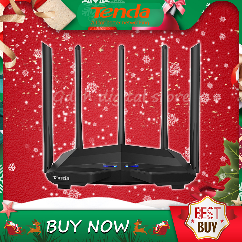 <font><b>Tenda</b></font> AC11 Gigabit Dual-Band AC1200 Wireless Router with 5*6dBi High Gain Antennas Wider Coverage, Easy setup,App Control image
