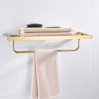 Modern Gold Towel Rack Bathroom Accessories Set Stainless Steel Brushed Towel Shelf 60cm Gold Fixed Towel Bar Wall Mounted