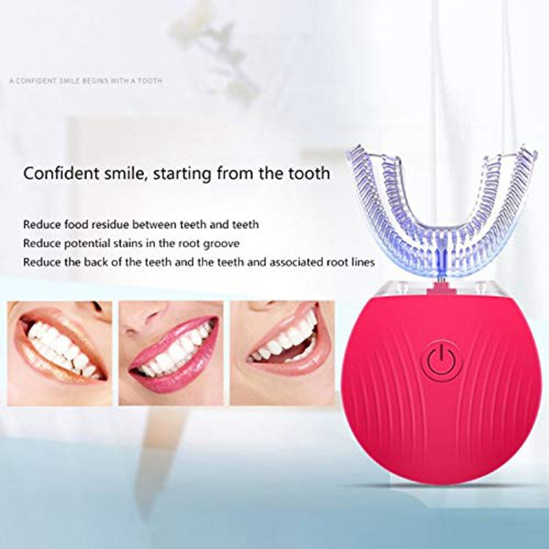 U-Shaped Electric Toothbrush, Fully Automatic Oral Cleaner Portable USB Rechargeable Toothbrush
