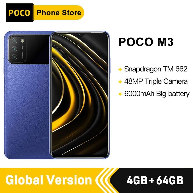 """Versão global poco m3 smartphone snapdragon 662 4gb 64gb 6.53 """"display 6000mah bateria 48mp câmera Celulares    -"""