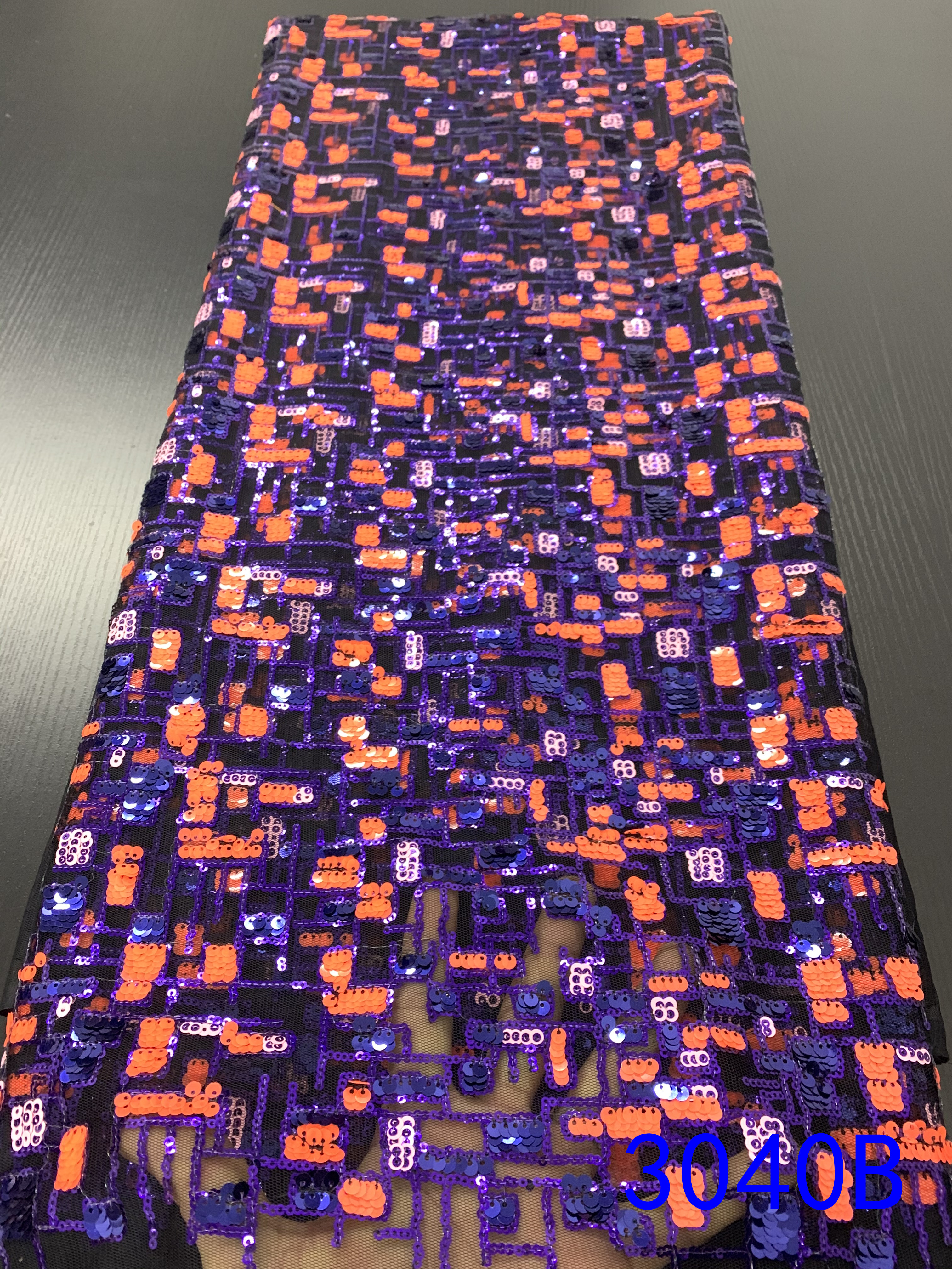 Fashion African Lace Fabric High Quality Laces French Lace Fabric With Colorful Sequins KS3040B