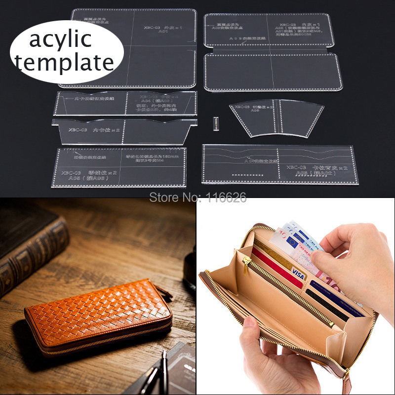 DIY Leather Craft Long Folded Wallet Card Holder Acylic Pattern Stencil Template