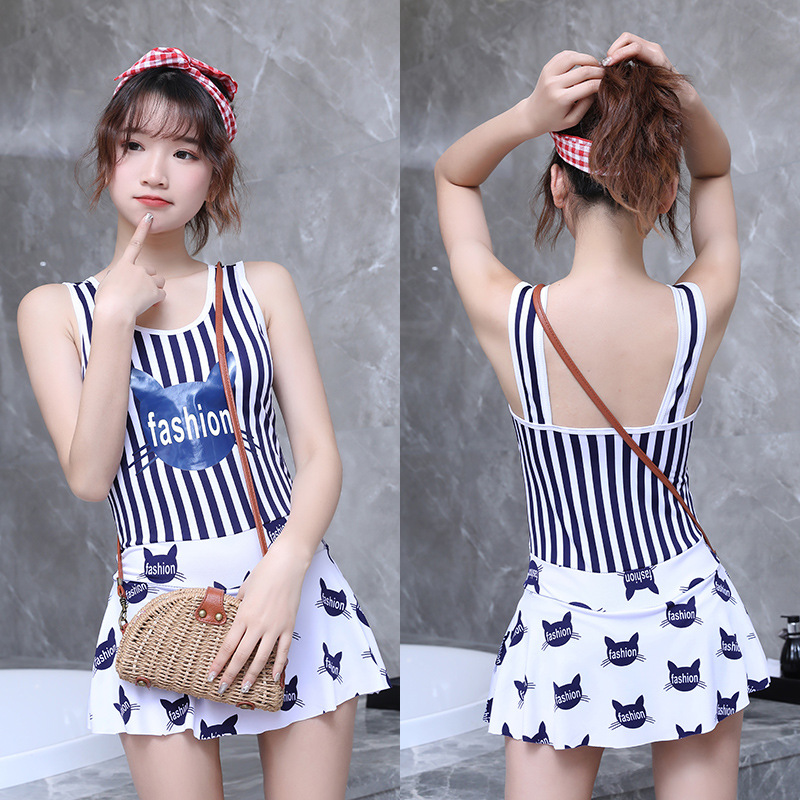 2019 New Style Miss Sunshine Fashion KID'S Swimwear Big Kid Stripes Conservative Boxer Hot Springs One-piece Swimwear