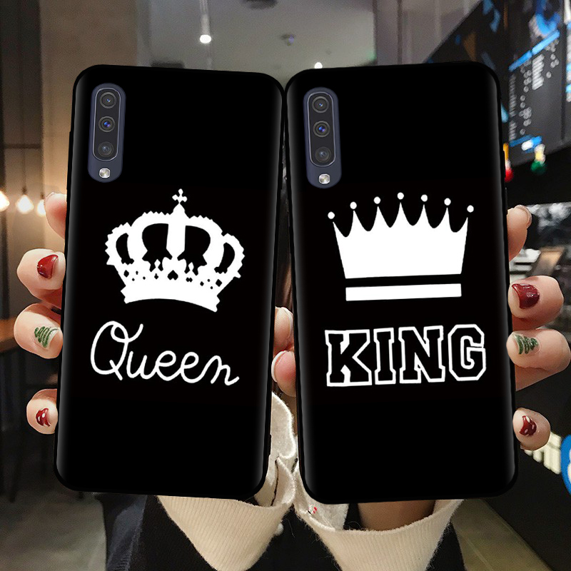 Cartoon King Queen Crown Couple Case For Samsung A10 A20 A30 A40 A50 A70 A41 A71 A6 A7 A8 A9 Plus 2018 Phone Shell Silicon Cover