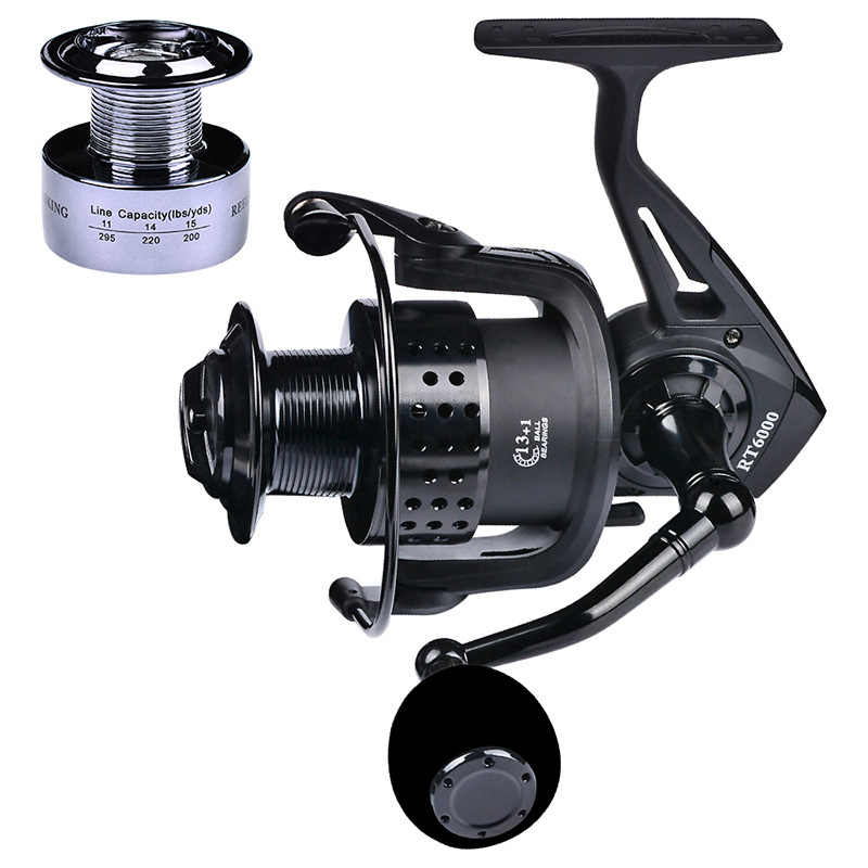 Rooxin Spinning Reel Metal Spool 13+1BB Carp Fishing Spinning Reel Ocean Fishing Rod Reels Fishing Tackle Rock Fishing