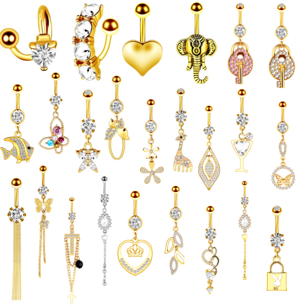 1/2PCS Gold Heart Cute Belly Button Ring Surgical Steel Butterfly Navel Piercing Sexy Jewelry Belly Bar Piercing Nombril Titane