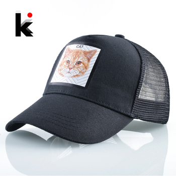 Snapback Mesh Hats Summer Simulation Embroidery Cat Patch Baseball Caps Women Outdoor Visor Baseball Hat Men Fashion Hip Hop Cap 1
