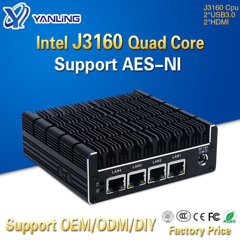 Yanling New NUC Mini PC Celeron J3160 Quad Core 4 Intel I210AT Nic X86 Computer Soft Router Linux Server Support Pfsense AES-NI