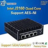 Yanling novo nuc mini pc celeron j3160 quad core 4 intel i210at nic x86 computador roteador macio linux suporte ao servidor pfsense AES-NI