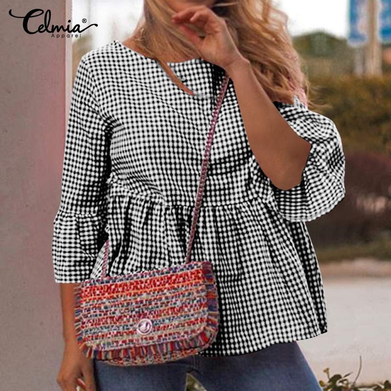 Fashion Summer Tops 2020 Celmia Women Flare Sleeve Casual Vintage Plaid Blouse Pleated Tunic Tops Loose Party Blusas Plus Size