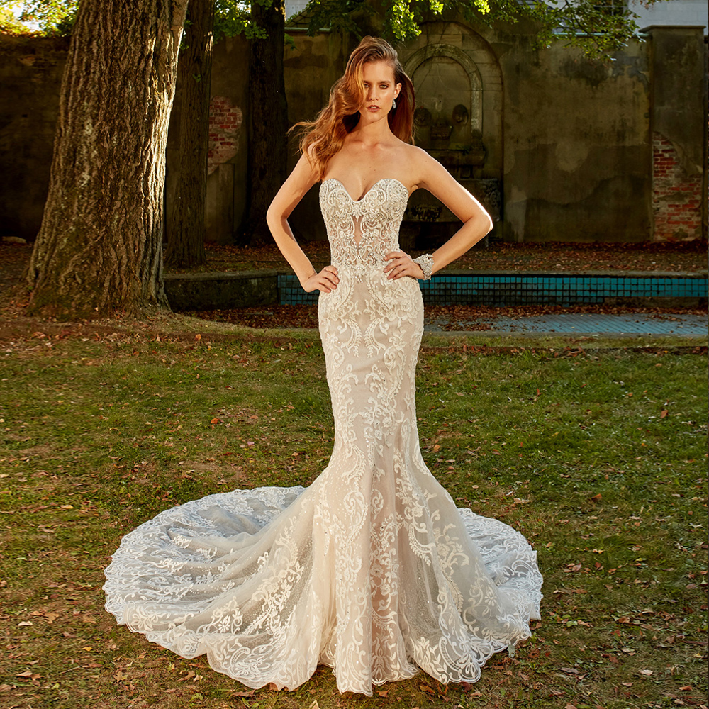 2020 Mermaid Wedding Gowns Robe De Mariee Sirene Boat Neck Zipper Up Beading All Over Appliques Trumpet Bridal Dresses Sukienki