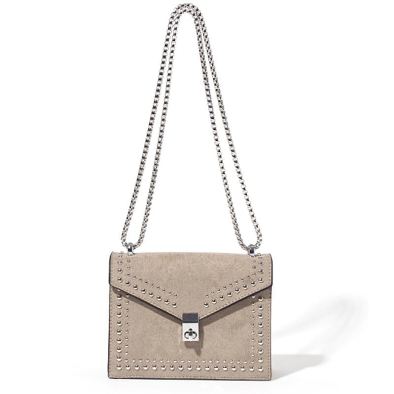 Scrub Leather Women Rivet Shoulder Messenger Bags Designer New Fashion Chain Lock Crossbody Bag Female Travel  HandBag For Women
