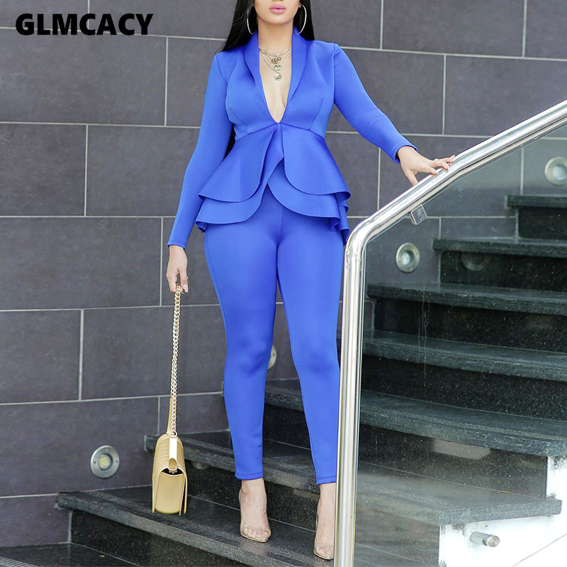 Women Sexy V Neck Peplum Tops And Skinny Pants Set Two Piece Set Elegant Office Ladies Workwear Club Outfits Casual Tracksuit