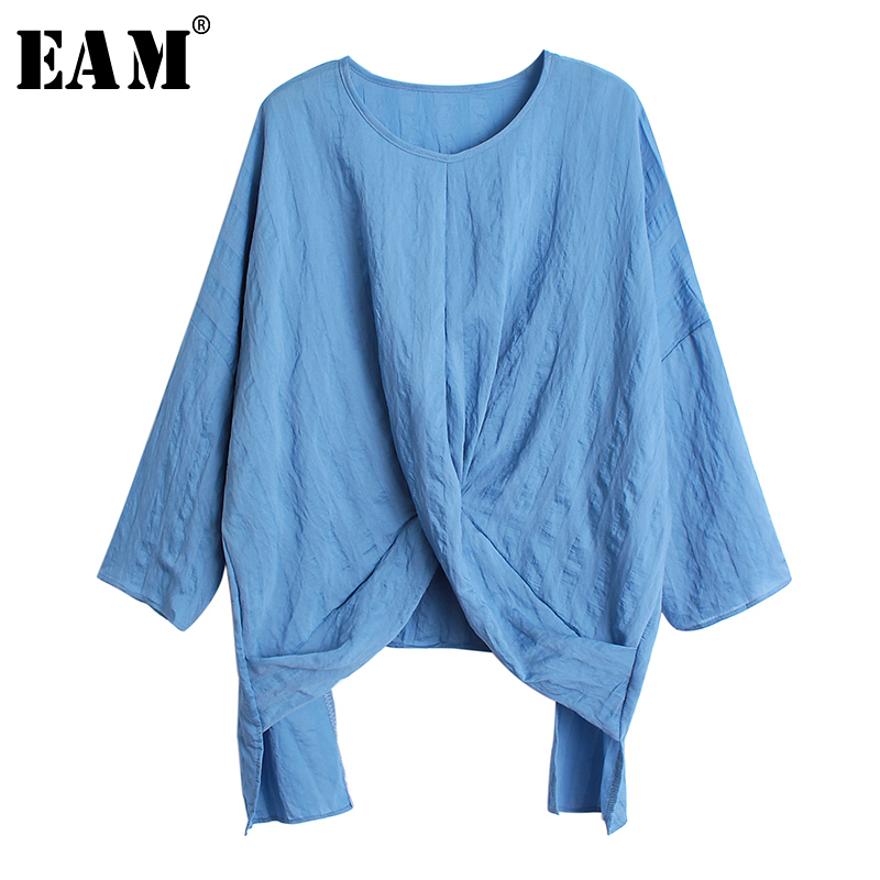[EAM] 2019 New Autumn Winter Stand Collar Long Sleeve Hollow Out Mesh Bandage Loose Temperament T-shirt Women Fashion Tide JW273