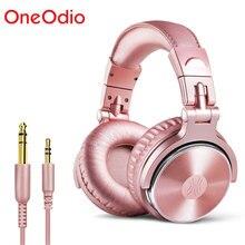 Cuffie cablate da Studio professionale oneodidj con microfono sopra lorecchio monitor HiFi cuffie musicali cuffie per telefono PC rosa