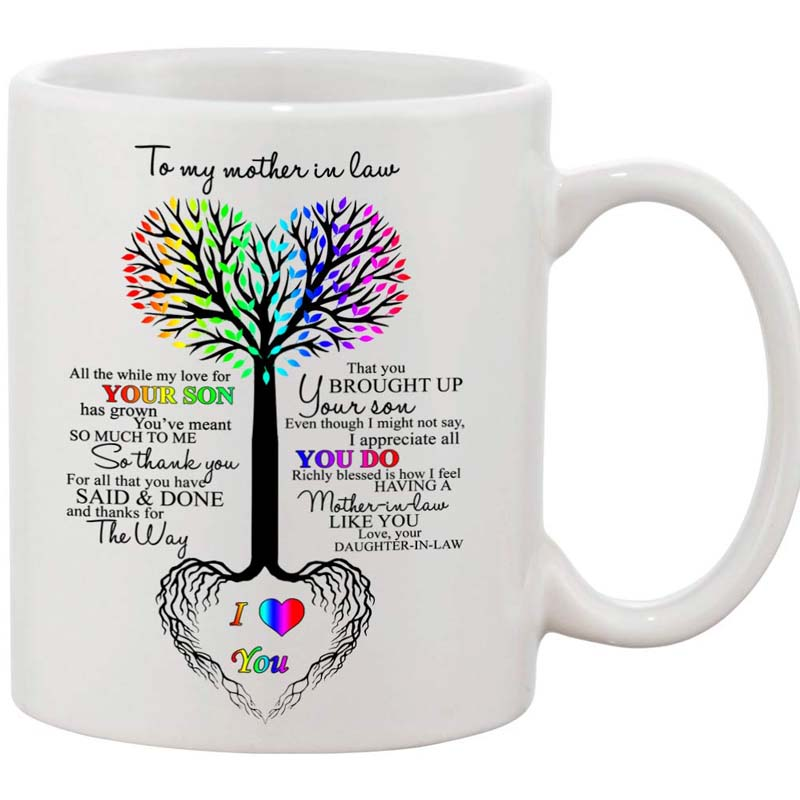 Us 169 Ceramic Coffee Mug To My Mother In Law Tree Heart Rainbow Sweet Sayings Birthday Mothers Day Christmas Anniversary Gift On Aliexpress