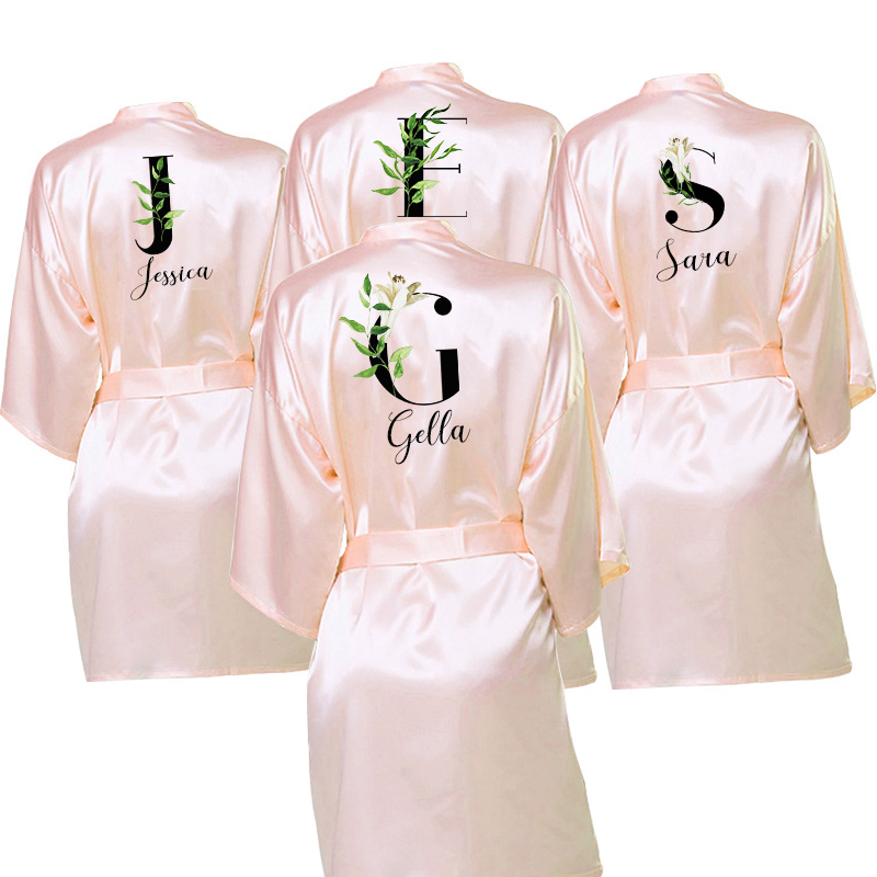Wedding Bride Dressing Gown Personalised  Custom Names Satin Robe Dark Pink Custom Robes For Gifts Maid Of Honor Bride Tribe