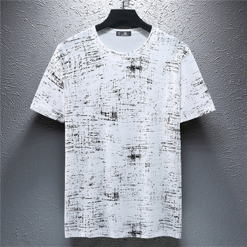 2019 Plus Size 90-180KG Men Summer Short Sleeve T-Shirts Loose Print White Black Tees Thin O-Neck T-Shirt Casual Streetwear Tops