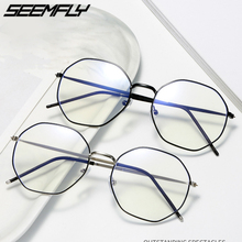 Glasses Frames Computer-Goggles Myopia Anti-Blue-Light Mirror Seemfly Women Metal Polygon