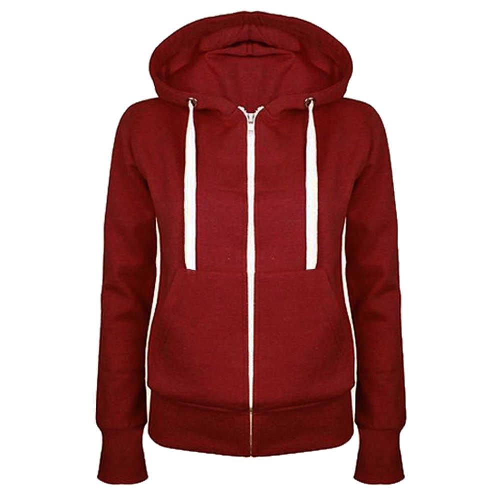 Mode Herbst Dame Feste Farbe Lange Hülse Mit Kapuze Tasche Zip Up Mantel Lässig Sweatshirt