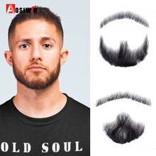 AOSIWIG 5 סגנון Weave מזויף זקן שפם איש איפור עבור סרט טלוויזיה איפור סינטטי מזויף שיער