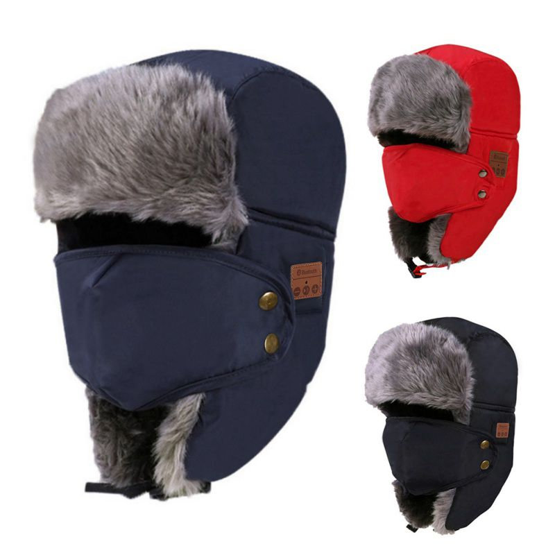 Hot Bluetooth 3.0 Headphone Hat Unisex Thicken Warm Faux Fur Winter Beanie Hat Wireless Headset Smart Cap Outdoor Soft Cap