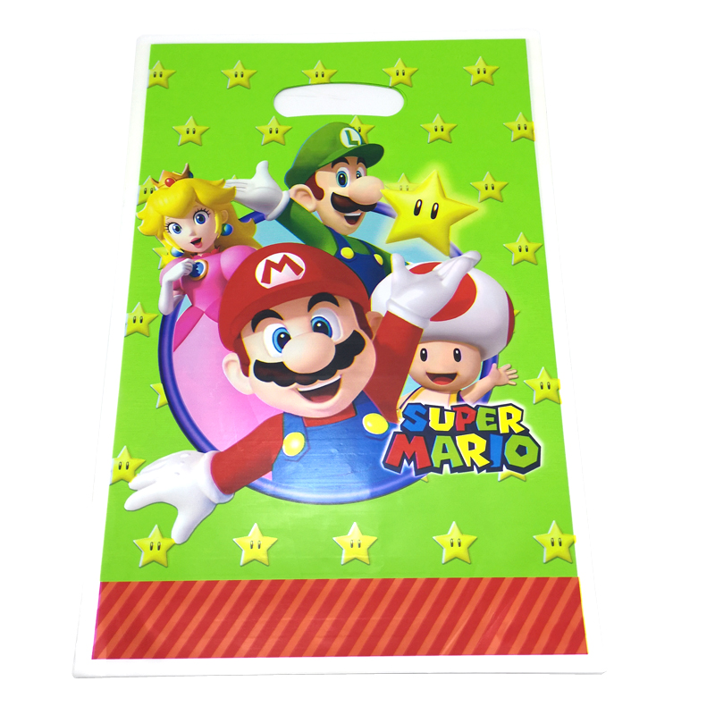 10pcs/pack Happy Birthday Kids Favors Baby Shower Mario Theme Plastic Loot Bags Events Party Decoration Gifts Food Candy Bags