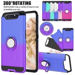 Image 1 - 360 ° rotating caso anel Para Samsung Galaxy A20 A30 A40 A50 A505 A30S A50S A70 A80 A90 A10s 2 em 1 caso de telefone à prova de choque