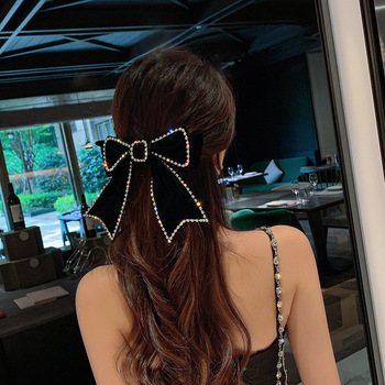 Elegant Fabric Ribbon Velvet Bow Hairpins Hair Clips Barrettes Adult Crystal Hairgrips Korean Headpiece Girls Hair Accessories cotton linen fabric bows boutique hair bow clips sailor bow hair barrettes hairgrips baby girls women hair accessories headwear