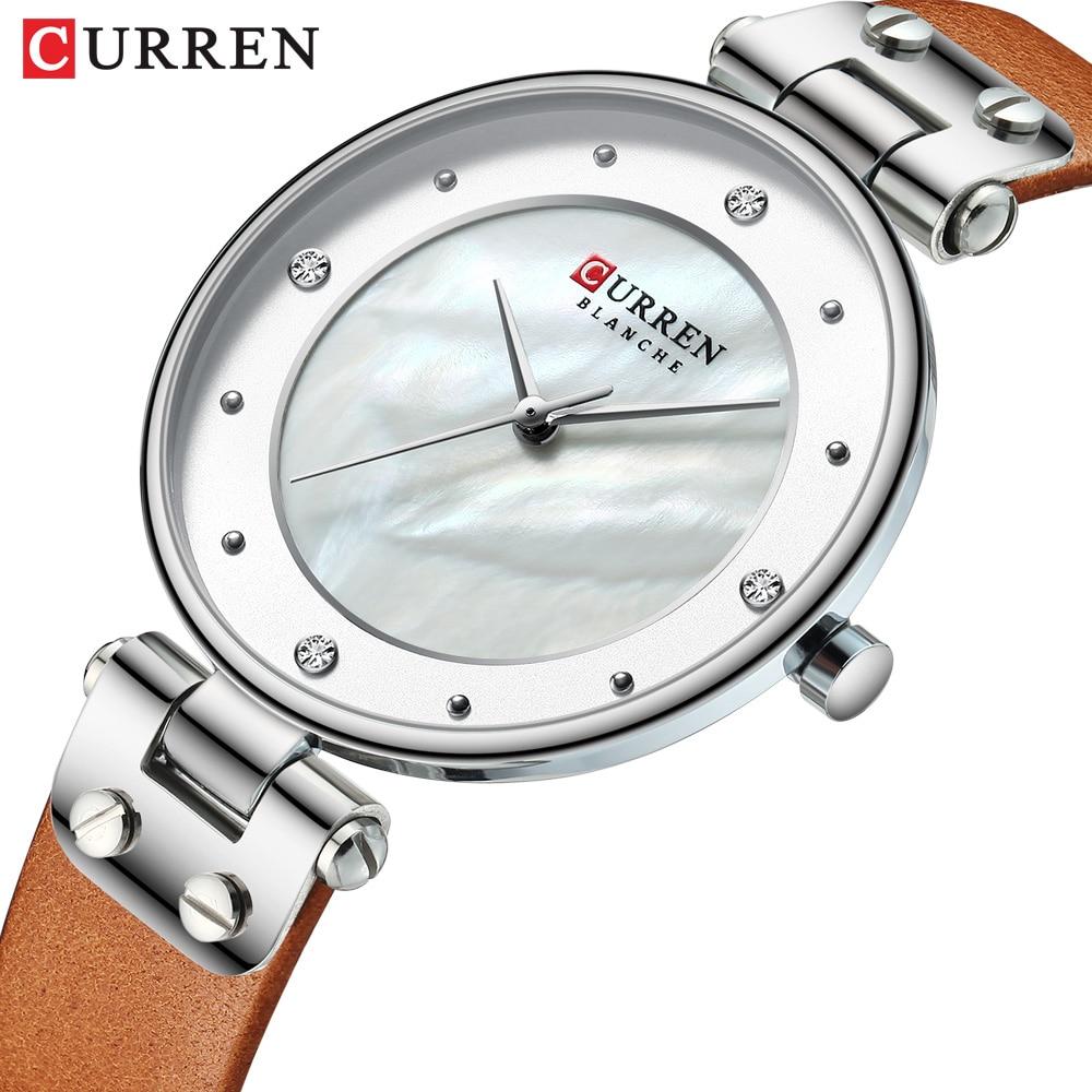 Women Watches CURREN Top Luxury Brand Fashion Casual Ladies Waterproof Quartz Watch Leather Dress Girl Clock Relogio Feminino