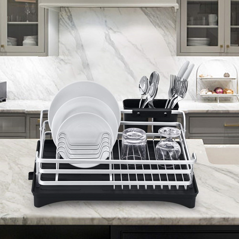Stainless Aluminium Kitchen Drying Dish Rack Sink Drain Holder Cutlery Drainer Accessories Storage Plate Organizer Shelf Gold