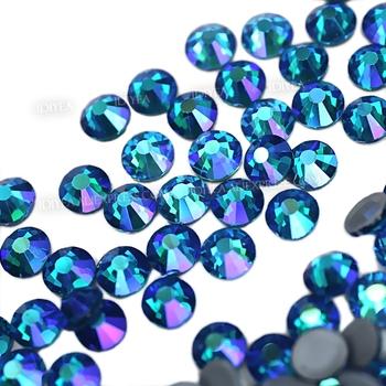 Niebieski paw AB flatback rhinestone hot fix crystal glitters strass glass hotfix kamienie na szycie sztuka sukienka akcesoria odzieżowe tanie i dobre opinie IDIYEA CN (pochodzenie) Luźne dżety strasy Do szybkiego klejenia ROUND SS6-SS30 KRYSZTAŁ Bags buty DO ODZIEŻY Tak ( 50 sztuk)