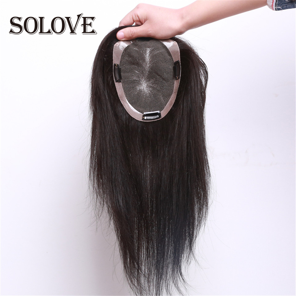 """15x16,16x18 Human Hair Topper Wig For Women 8""""-14""""Straight Mono+pu Base With Clips In Hair Toupee Remy Hairpiece"""