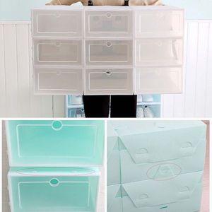 Image 5 - Caja de zapatos de plástico apilable y plegable, organizador de zapatos, cajón, caja de almacenamiento con puerta transparente abatible, 33,5x23,5x13cm, 6 uds.