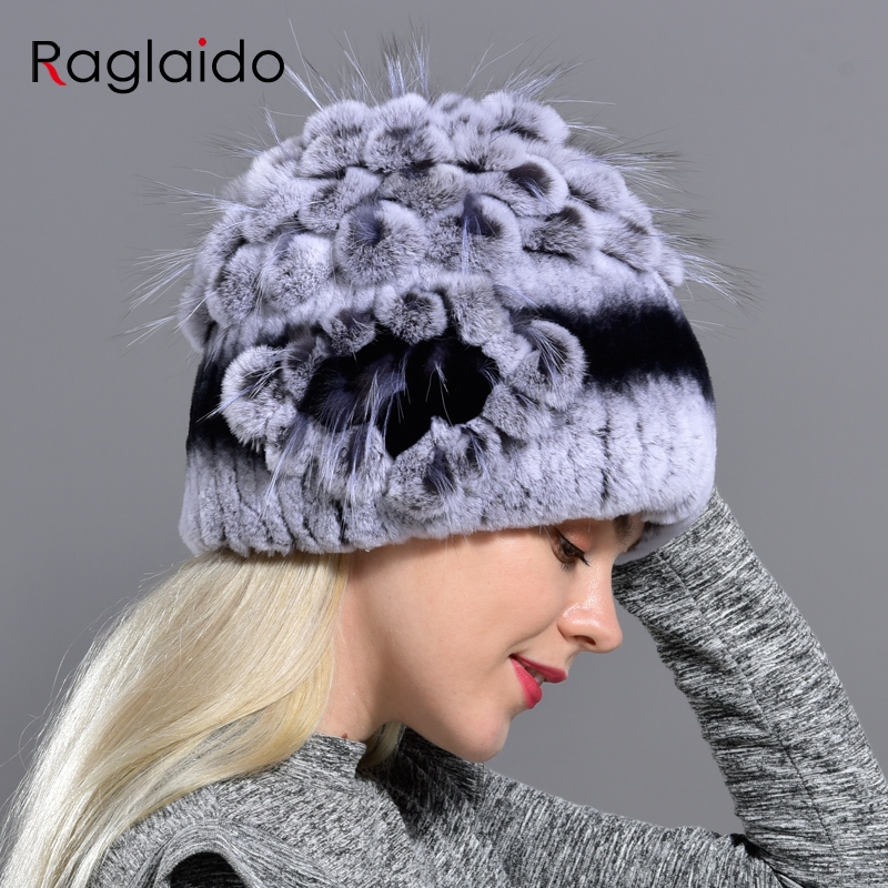 Women's Real Fur Hats Knitted Warm Winter Hats Floral Natural Rex Rabbit Fox Fur Fashionable Stylish Skullies & Beanies