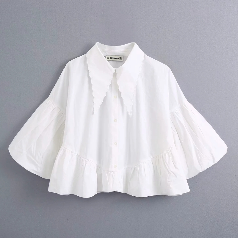 New 2020 Women Fashion Patchwork Pleats Puff Sleeve Casual White Smock Blouse Office Lady Leisure Shirts Chic Blusas Tops LS6570