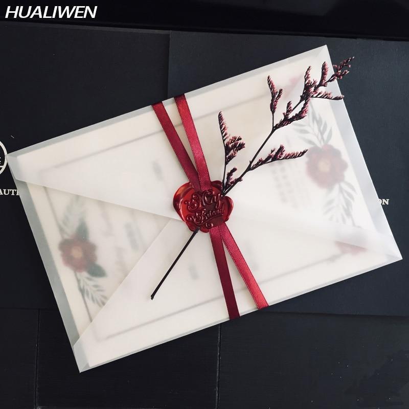 Конверты из полупрозрачной серной кислоты, 20 шт./партия, используются для самостоятельного хранения открыток/карт, свадебных приглашений, п...