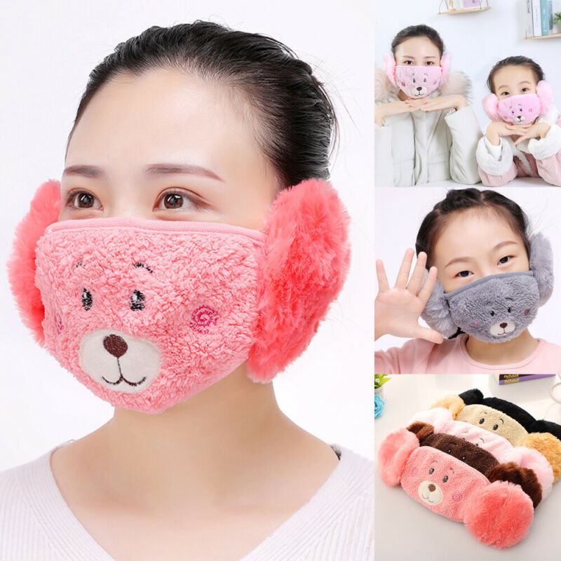 Winter Plush Children Mother Cartoon Ear Protectors Cotton Bear Warm Mouth Mask