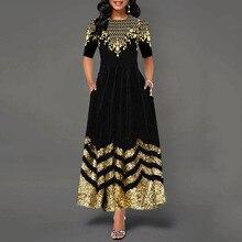 Женское платье Бохо с круглым вырезом и рукавом средней длины, женское элегантное винтажное платье с цветочным принтом, а-образный карман, черные макси платья, женское платье