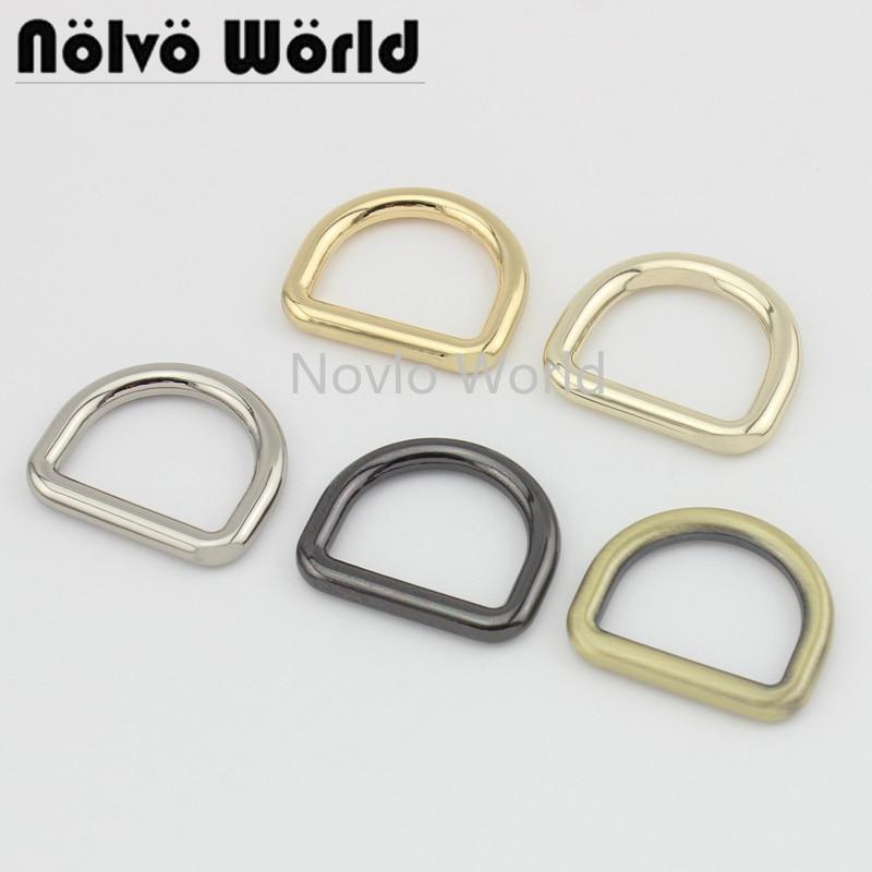 Nolvo World 5-20-100pcs 6 Colors 25*19.9mm 1 Inch Metal D Ring Die Casting Buckles Ladies Bag Handbag Dee Rings Hardware