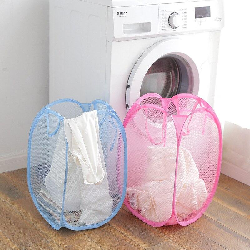 Nylon Mesh Fabric Laundry Storage Basket For Toy Foldable Washing Basket Dirty Clothe Storage Bag Sundries Basket Storage Basket