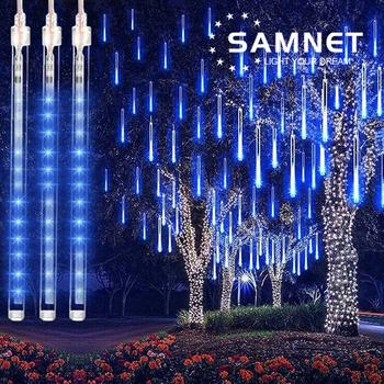 30cm 50cm LED Meteor prysznic Garland wakacje taśmy światła na zewnątrz wodoodporna wróżka światła do ogrodu ulicy świąteczne dekoracje tanie i dobre opinie GOTOBE CN (pochodzenie) ROHS CHRISTMAS Z tworzywa sztucznego Żarówki LED Brak 220 v 6-10m WHITE Niebieski MULTI ciepły biały