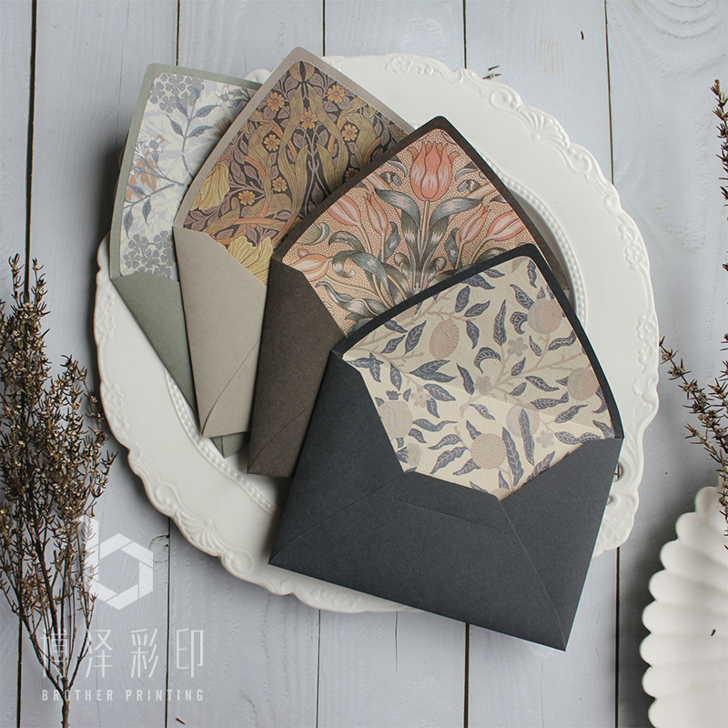 Original Design 5pcs Vintage Gift Envelopes Morandi Color Floral Envelopes 115mmx160mm Drop Shipping