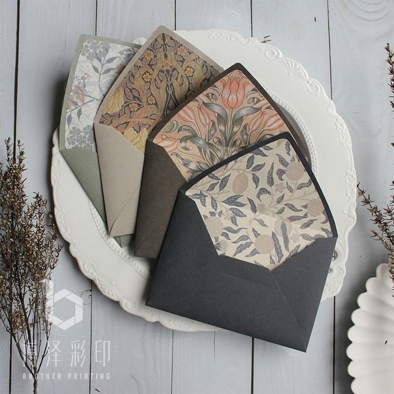 Original Design 5pcs Vintage Gift Envelopes Morandi Color Floral Envelopes 115mmx160mm Drop Shipping