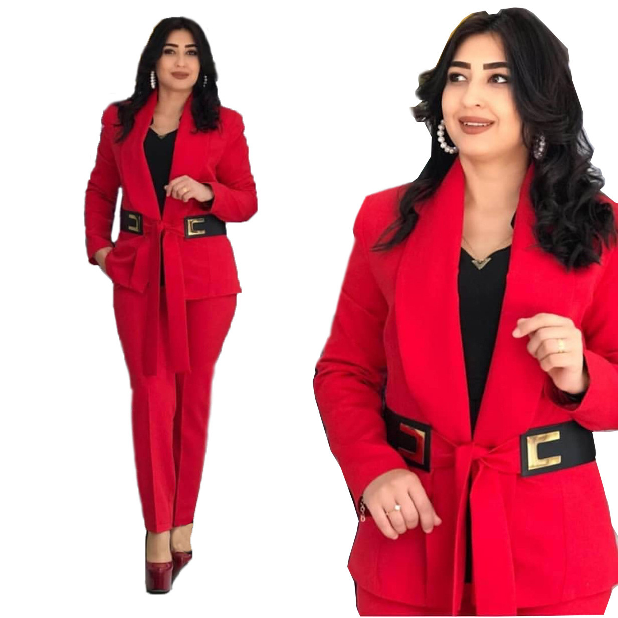 Women Office OL 2 Piece Set Suit Top And Pants Female Long Sleeve Solid Red Blue Outfits Elegant Clothes High Quality With Belt