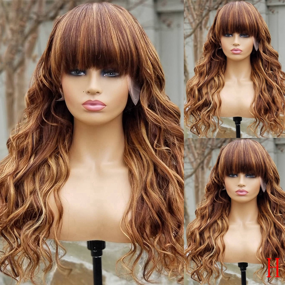 Loose Wave Honey Blonde 360 Lace Frontal Human Hair Wigs With Bangs Preplucked Highlights 13X6 Lace Front Wigs Fringe Wig Remy