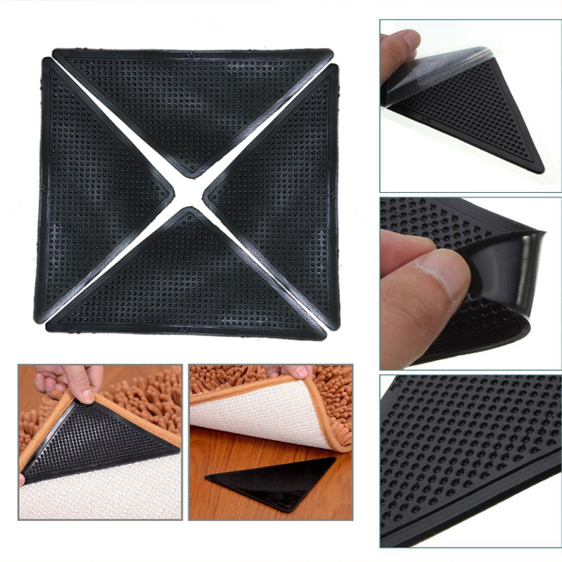 4Pcs Home Floor Rug Carpet Mat Grippers Self-adhesive Anti Slip Tri Sticker Reusable Washable Silicone Grip  Pads