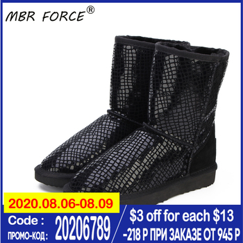 MBR FORCE Australia Classic Hot Sale Fashion Genuine Cowhide Leather Snow Boots Winter Fur Waterproof Women Shoes  Botas Mujer top fashion 2018 real wool botas mujer high quality genuine sheepskin leather snow boots natural fur waterproof women shoes