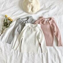 נסיכה קטנה בנות חדש סתיו סרוג סוודר Ruflles צווארון ילדים פשוט ארוך שרוול השפל חולצה ילדים קוריאני בגדים